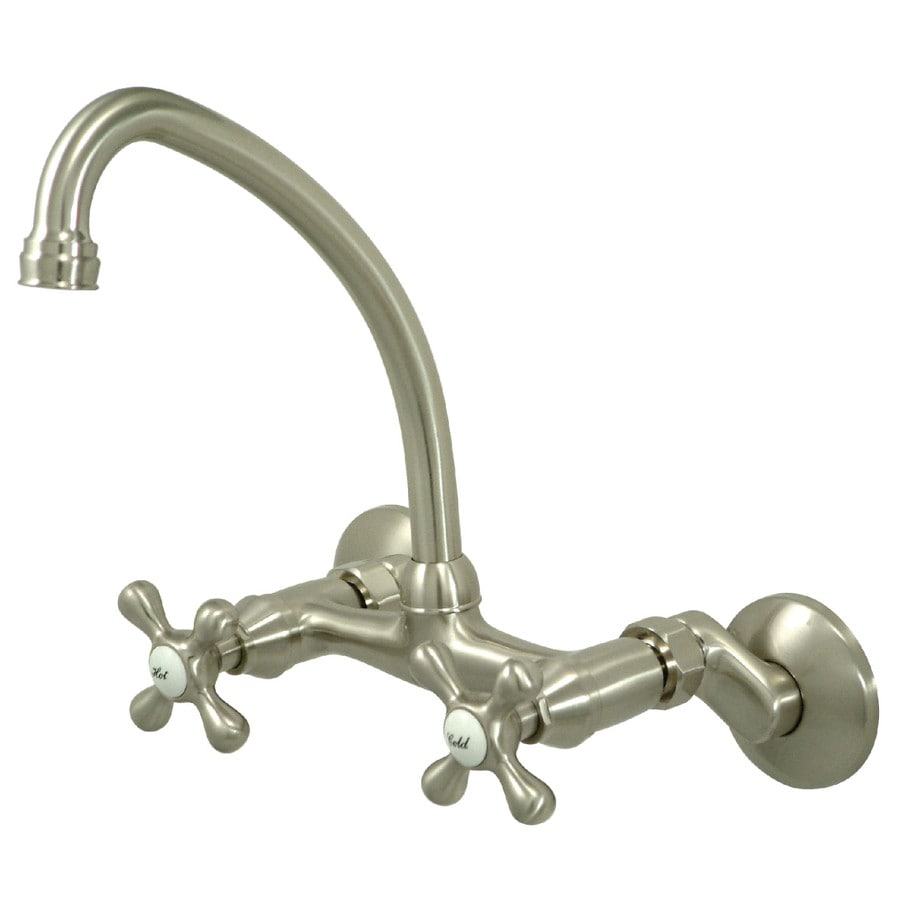 Kingston Brass Magellan Satin Nickel 2-Handle High-Arc Wall Mount Kitchen Faucet