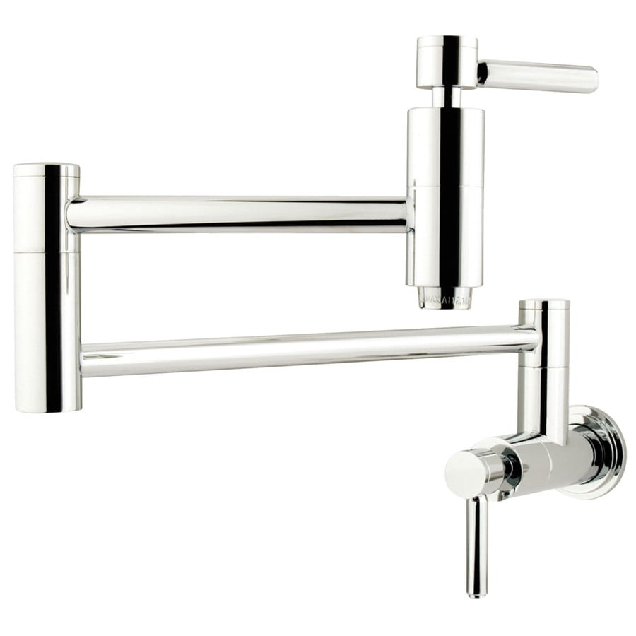 Shop Kingston Brass Concord Chrome 2 Handle Wall Mount Pot Filler Kitchen Faucet At