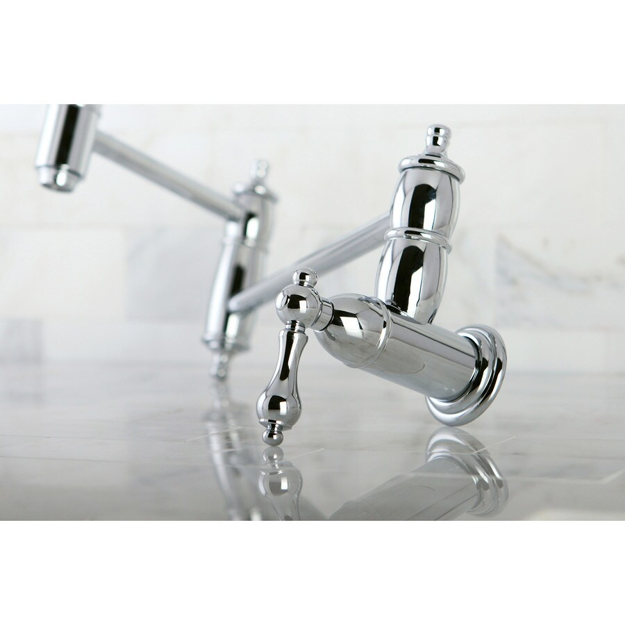 Shop Kingston Brass Restoration Chrome 2 Handle Wall Mount Pot Filler Kitchen Faucet At