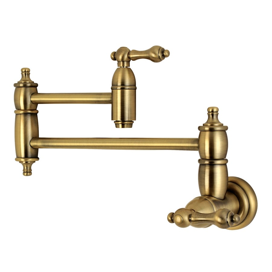 Shop kingston brass restoration vintage brass 2 handle Pot filler faucet