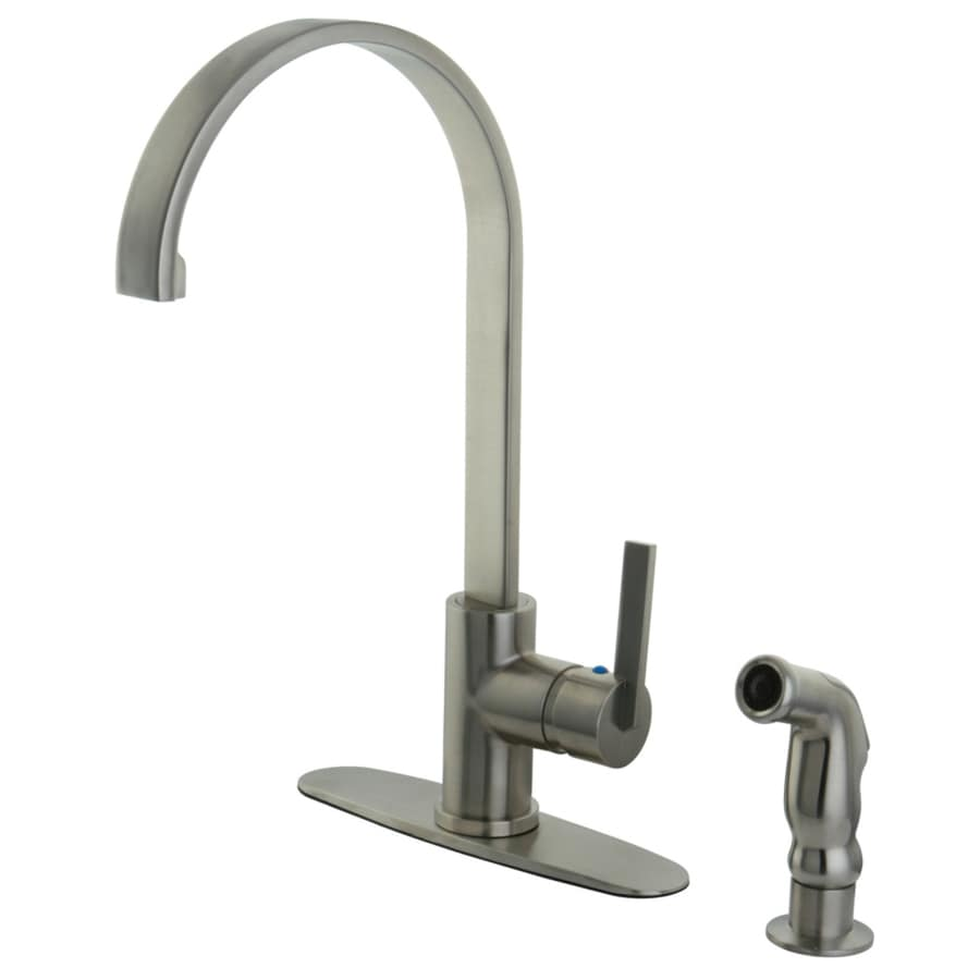 Shop Kingston Brass Continental Satin Nickel 1 Handle Deck Mount High Arc Kitchen Faucet At