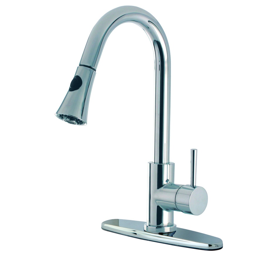 Kingston Brass Concord Chrome 1-Handle Deck Mount Pull-Down Kitchen Faucet