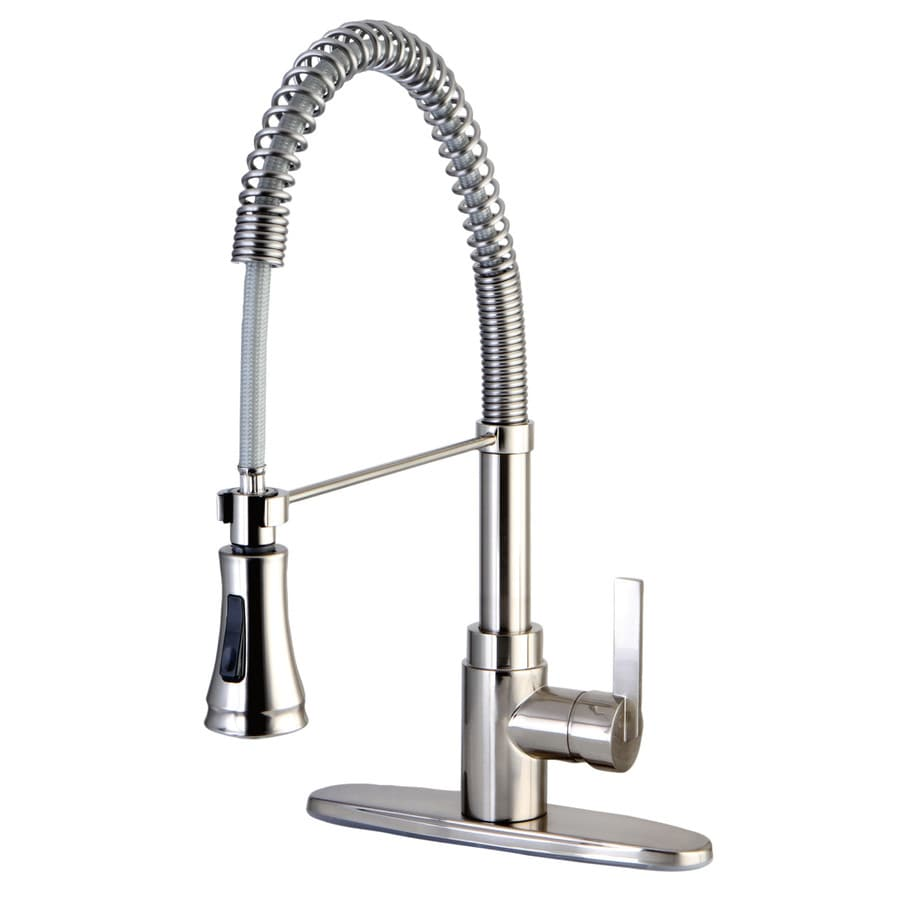 Kingston Brass Continental Satin Nickel 1-Handle Deck Mount Pre-Rinse Kitchen Faucet