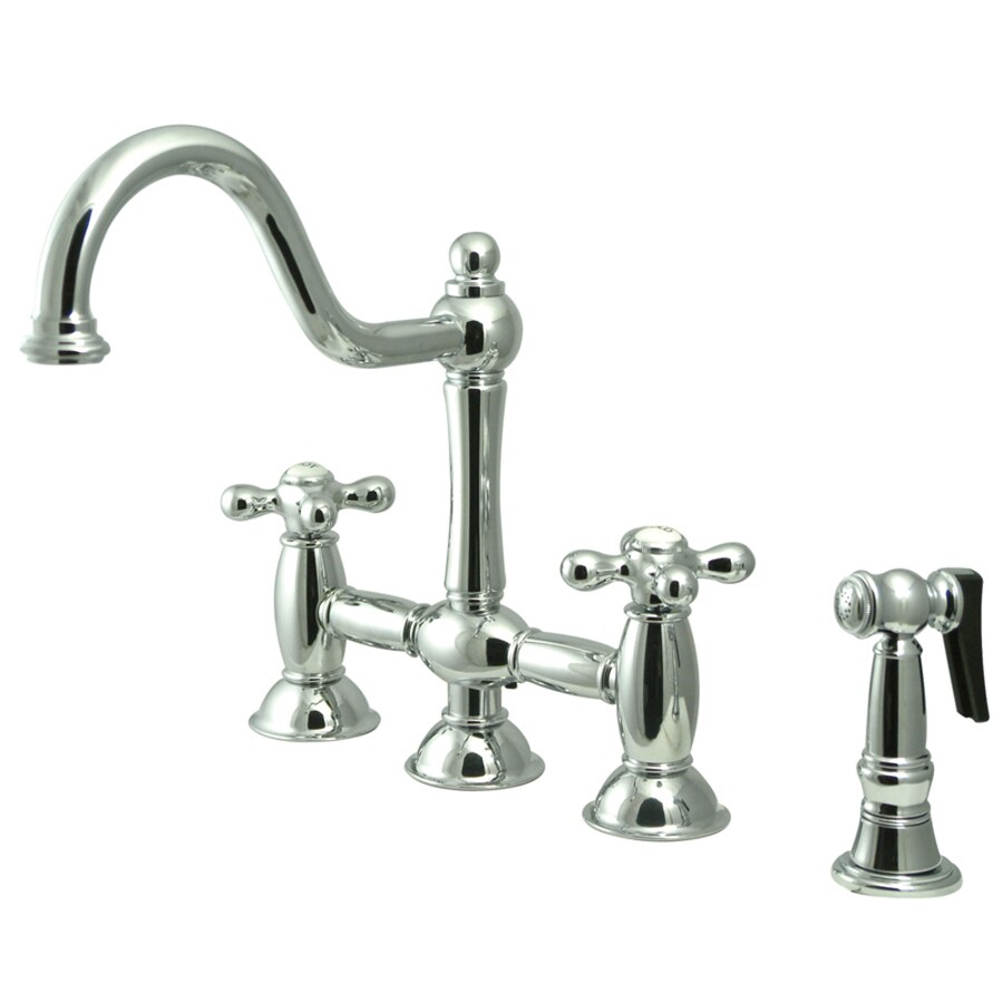 Kingston Brass Restoration Chrome 2-Handle High-Arc Kitchen Faucet