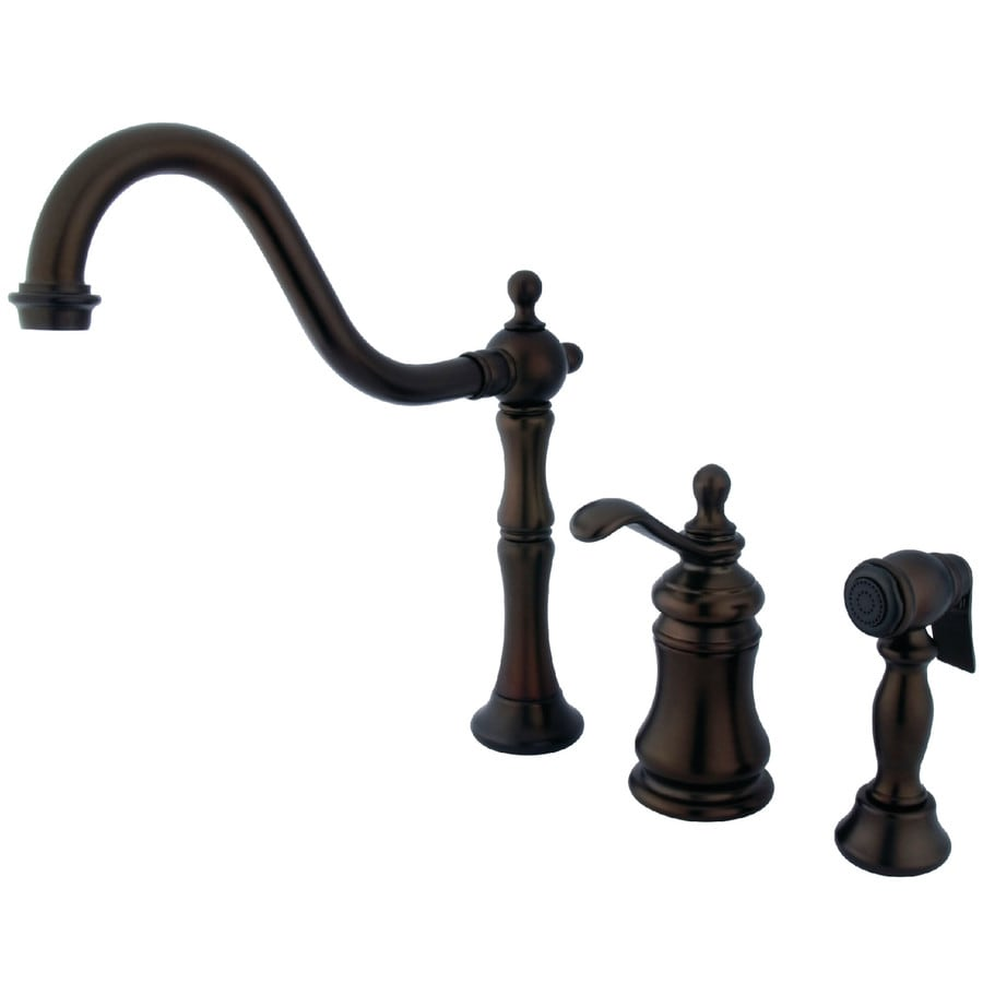 Kingston Brass Templeton Oil-Rubbed Bronze 1-Handle High-Arc Kitchen Faucet with Side Spray