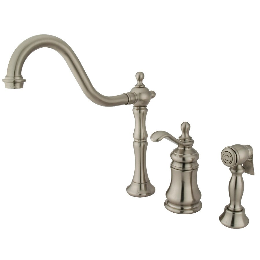 Kingston Brass Templeton Satin Nickel 1-Handle Deck Mount High-Arc Kitchen Faucet