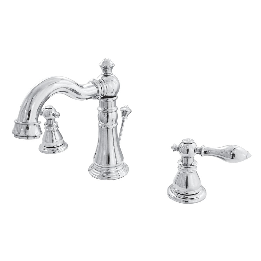 Beau Kingston Brass Georgian Chrome 2 Handle Widespread Bathroom Sink Faucet