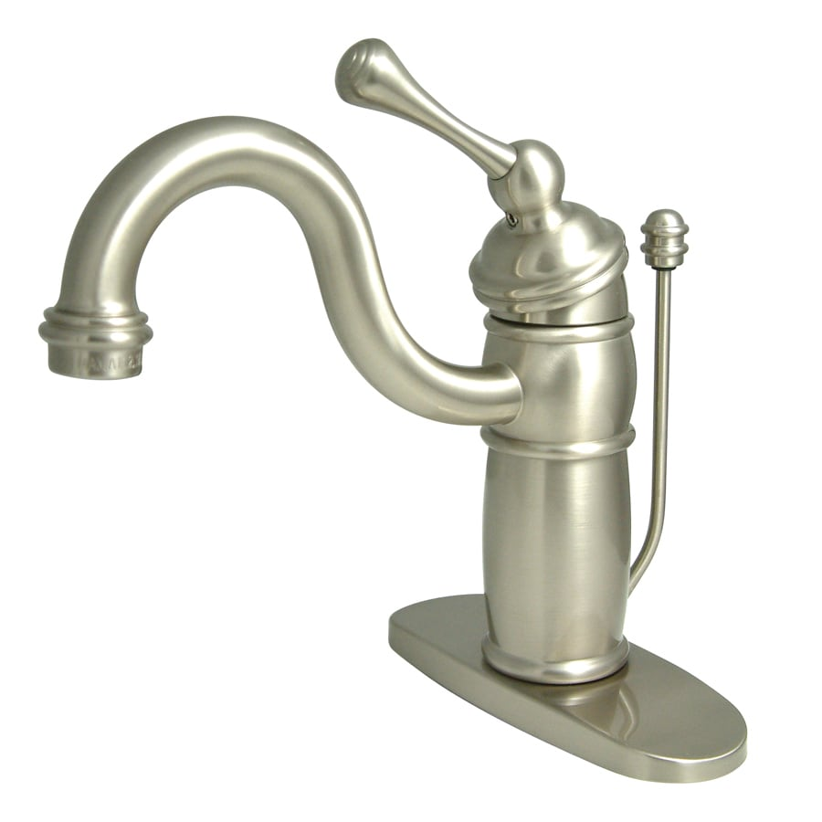 brass bathroom sink shop kingston brass georgian satin nickel 1 handle 4 in 12159