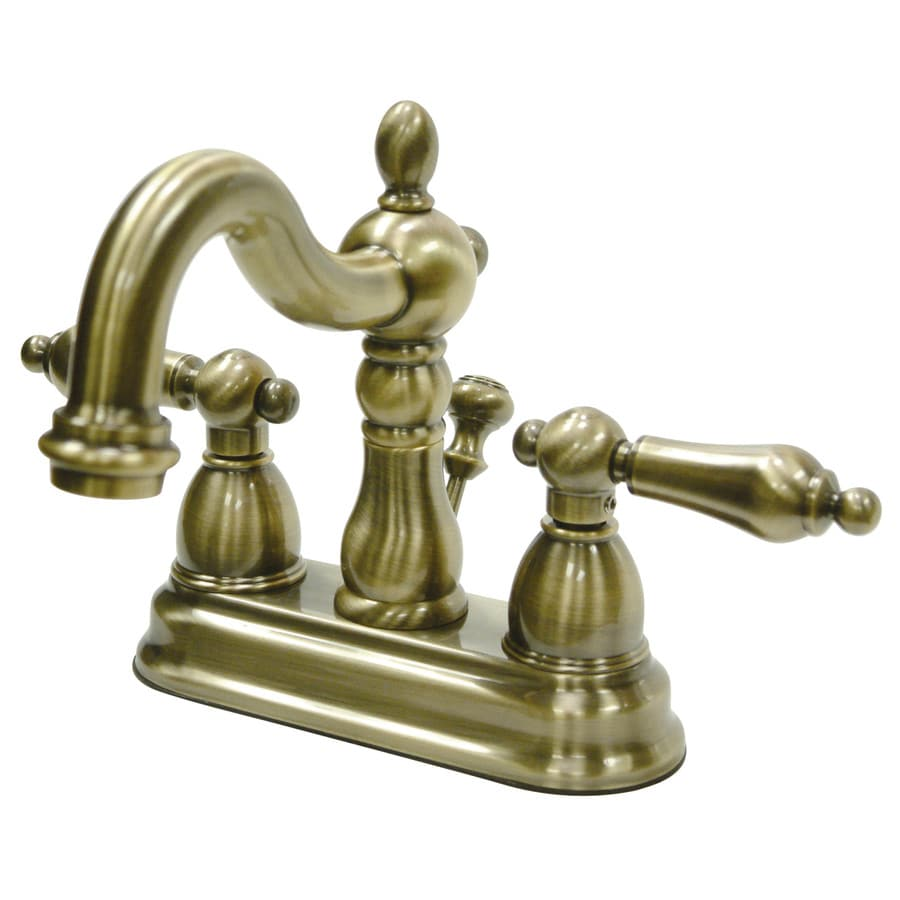 Shop Kingston Brass Georgian Vintage Brass 2 Handle 4 In Centerset Bathroom Sink Faucet At