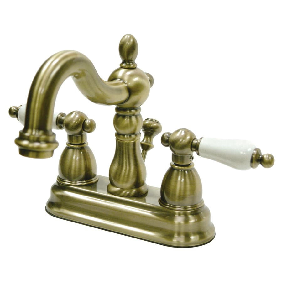 Kingston Brass Heritage Vintage Brass 2-Handle 4-in Centerset Bathroom Faucet (Drain Included)