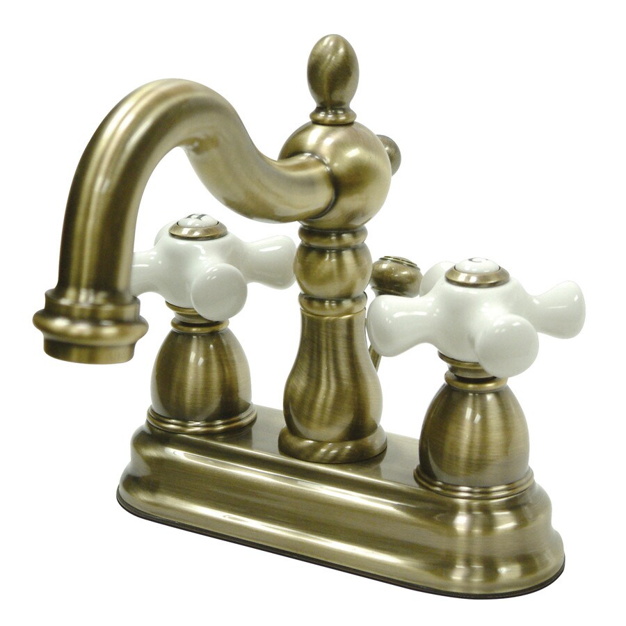 Kingston Brass Heritage Vintage Brass 2-Handle 4-in Centerset Bathroom Sink Faucet