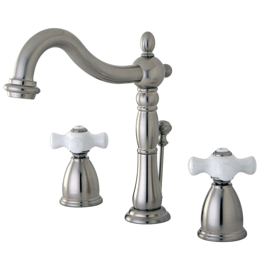 Shop Kingston Brass Georgian Satin Nickel 2 Handle Widespread Bathroom Sink Faucet At