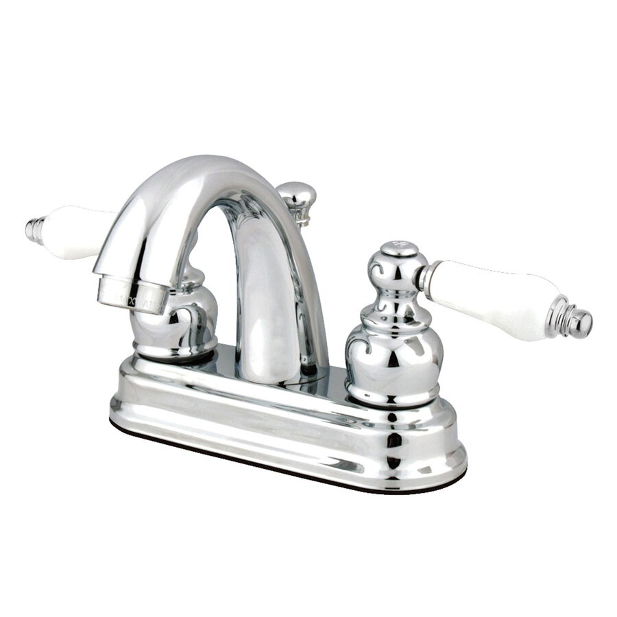 Shop kingston brass restoration chrome 2 handle 4 in centerset bathroom faucet drain included for Restoration hardware bathroom faucets