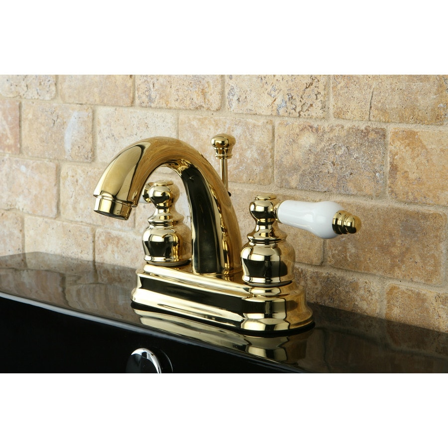 Kingston Brass Restoration Polished Brass 2-Handle 4-in Centerset Bathroom Faucet (Drain Included)