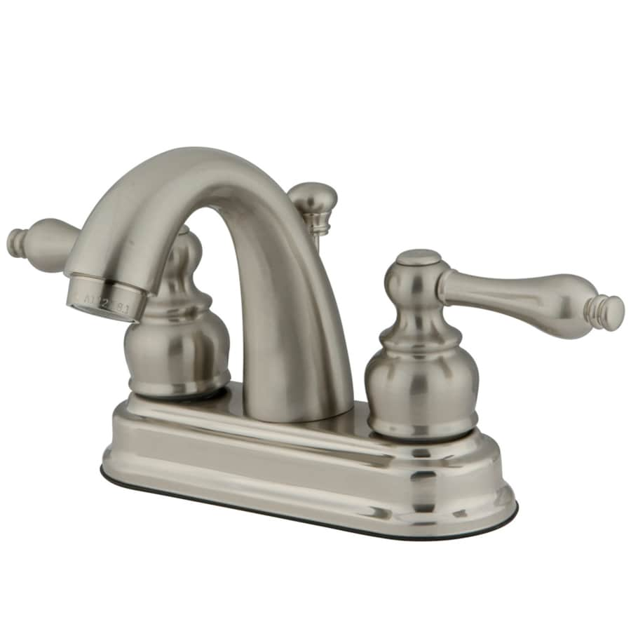 Kingston Brass Restoration Satin Nickel 2-Handle 4-in Centerset Bathroom Sink Faucet