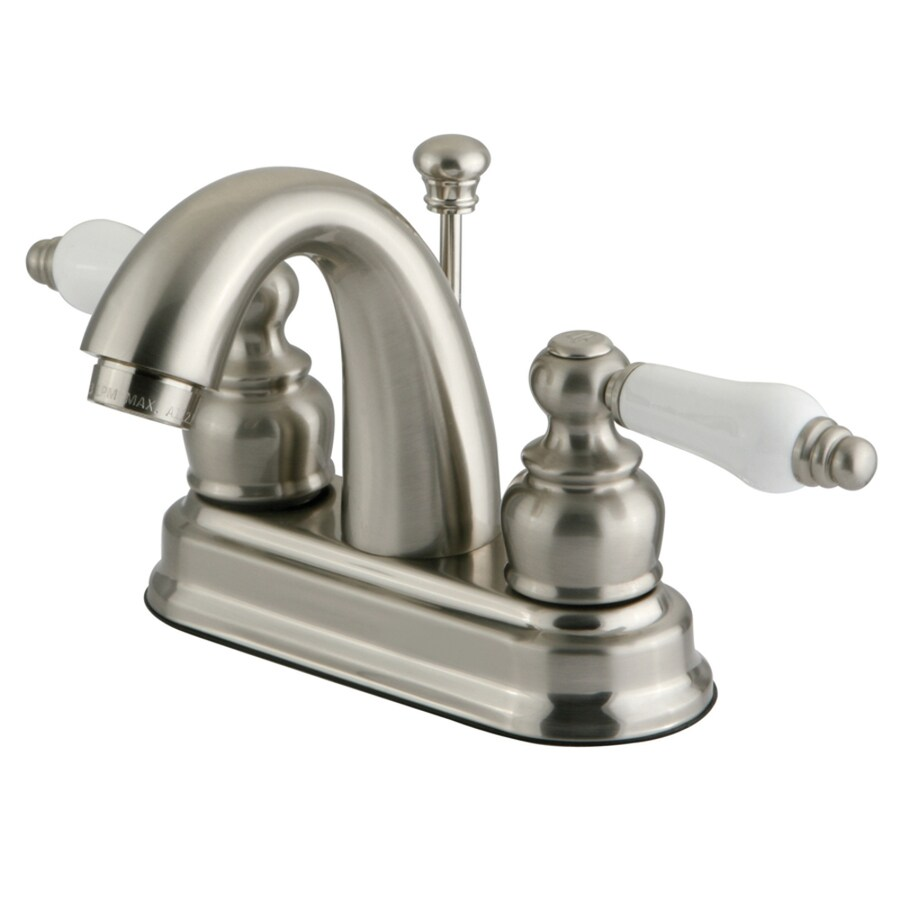 Kingston Brass Restoration Satin Nickel 2-Handle 4-in Centerset Bathroom Faucet (Drain Included)