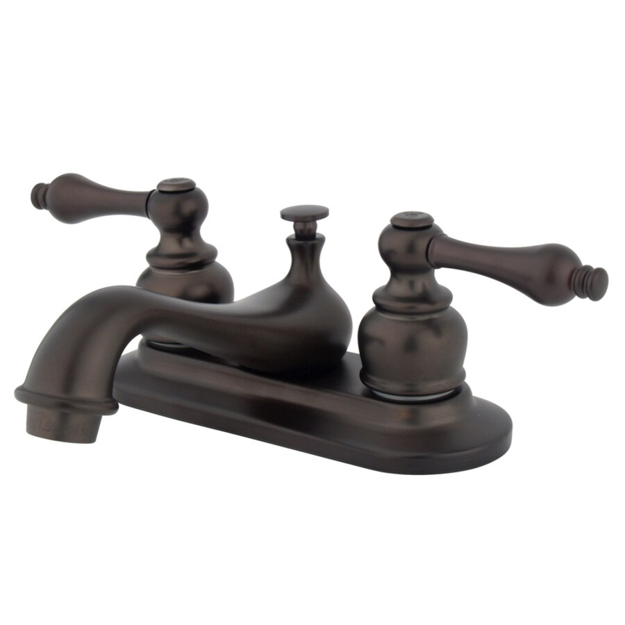 Kingston Brass Restoration Oil-Rubbed Bronze 2-Handle 4-in Centerset Bathroom Faucet (Drain Included)