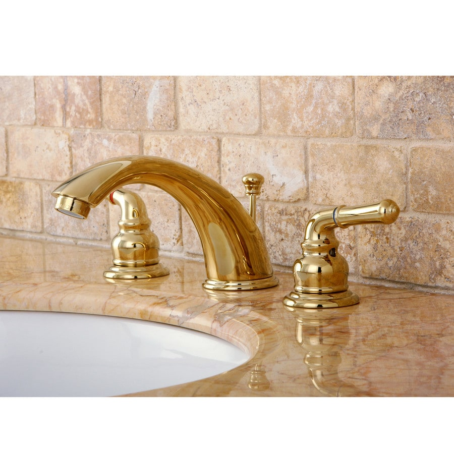 Shop Kingston Brass Concord Polished Brass 2 Handle Widespread Bathroom Sink Faucet At