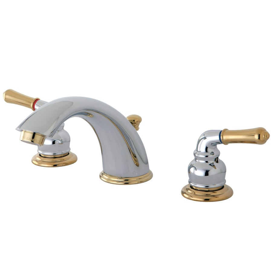 Kingston brass georgian polished brass 2 handle widespread - Kohler two tone bathroom faucets ...