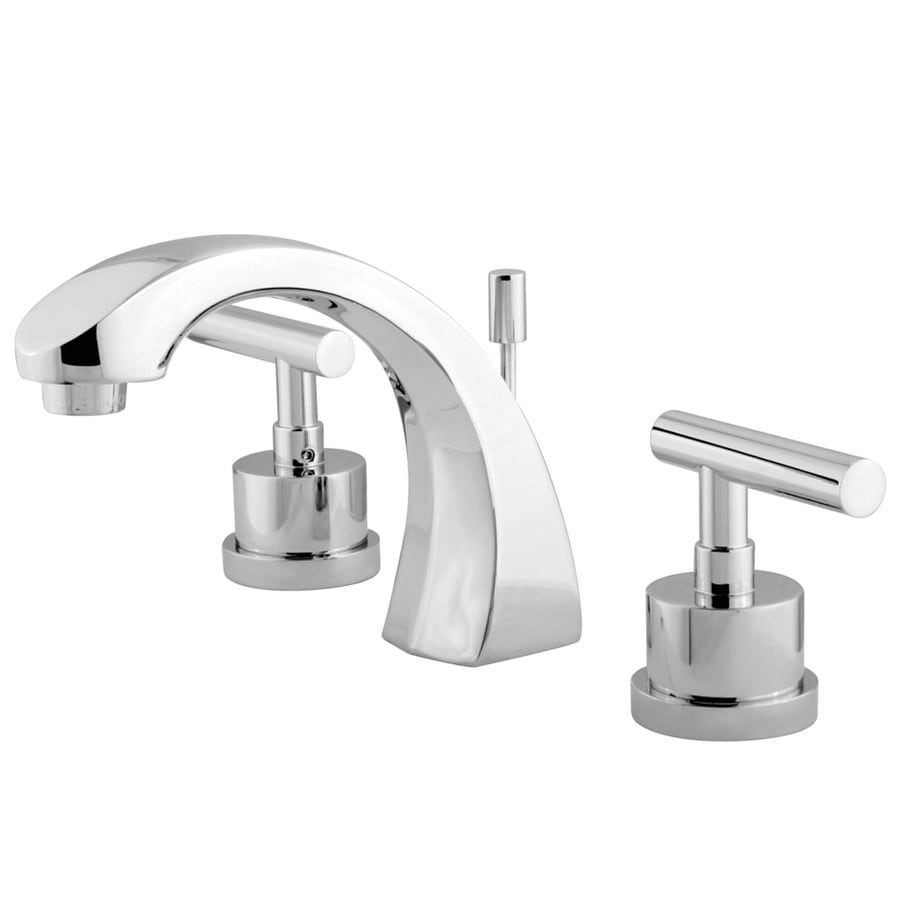 Shop Kingston Brass Manhattan Chrome 2 Handle Widespread Bathroom Sink Faucet At