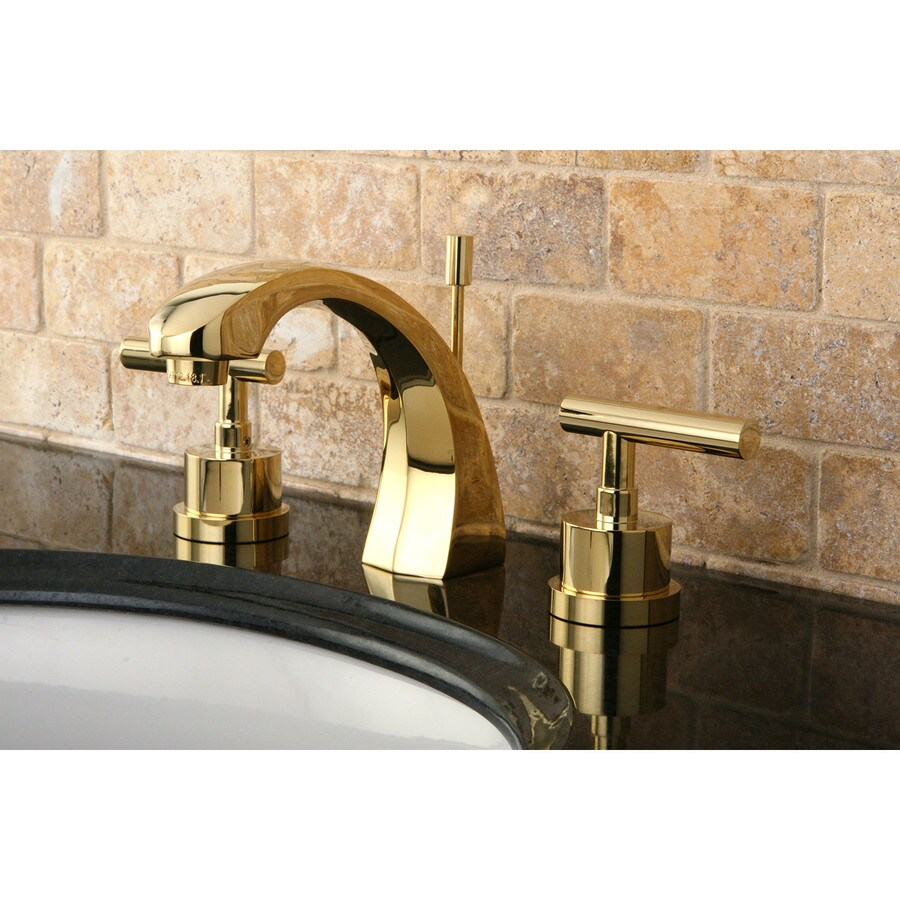 Shop Kingston Brass Manhattan Polished Brass 2 Handle Widespread Bathroom Sink Faucet At