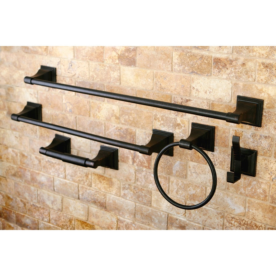 Shop kingston brass 5 piece classic oil rubbed bronze decorative bathroom hardware set at Oil rubbed bronze bathroom hardware