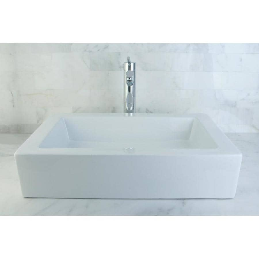 Kingston Brass Pacifica White Vessel Rectangular Bathroom