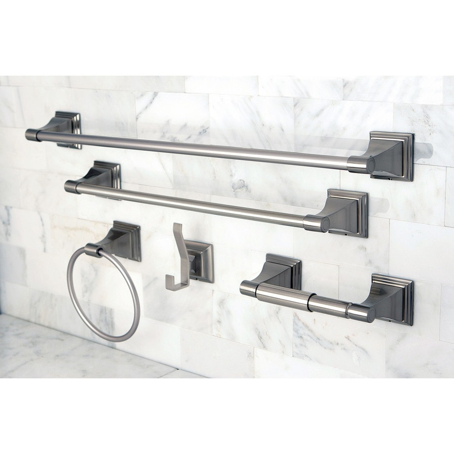 Shop kingston brass 5 piece classic satin nickel for Bathroom 5 piece set