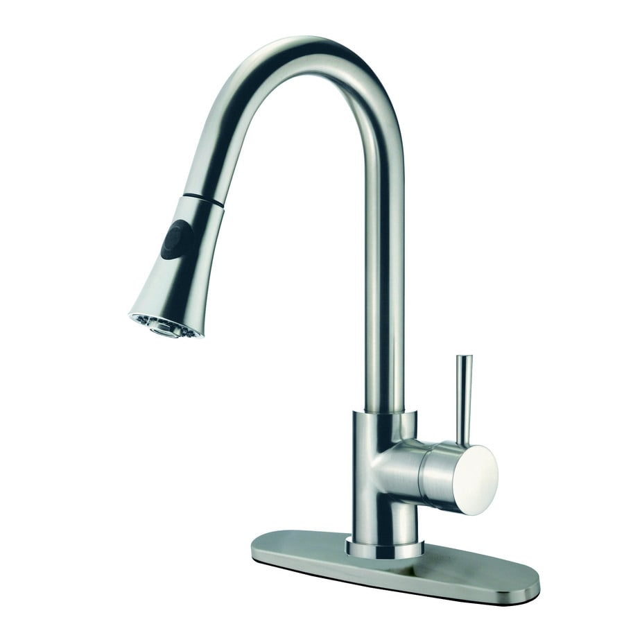 Kingston Brass Concord Satin Nickel 1-Handle Deck Mount Pull-Down Kitchen Faucet