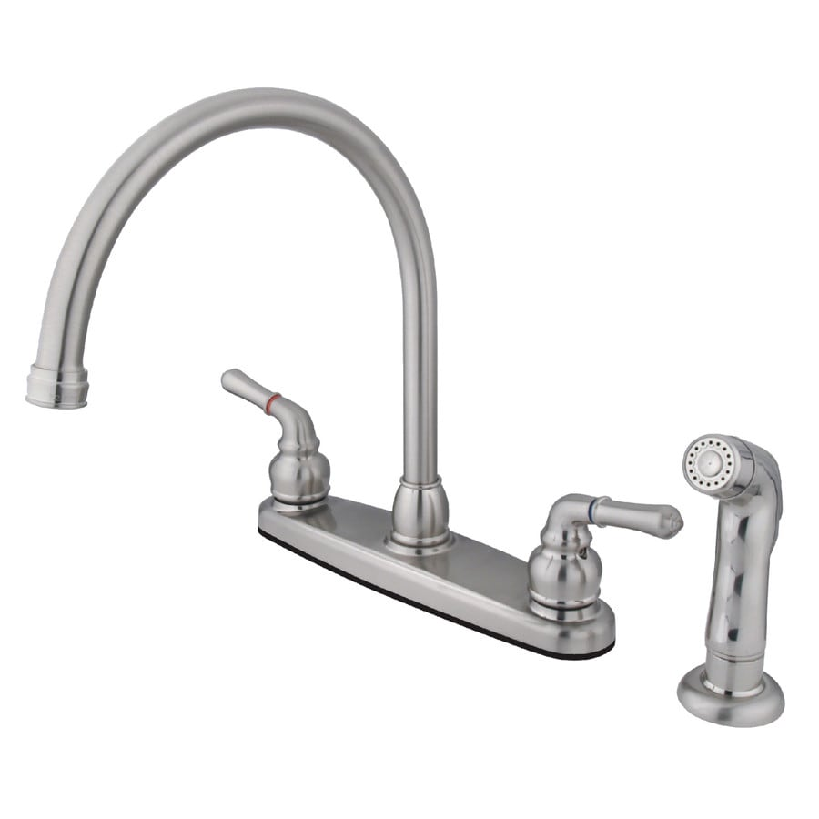Kingston Brass Magellan Satin Nickel 2-Handle High-Arc Kitchen Faucet with Side Spray