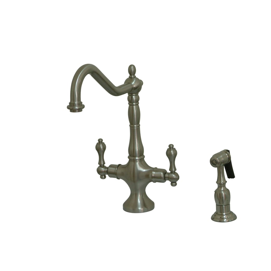 Kingston Brass Heritage Satin Nickel 2-Handle Deck Mount High-Arc Kitchen Faucet