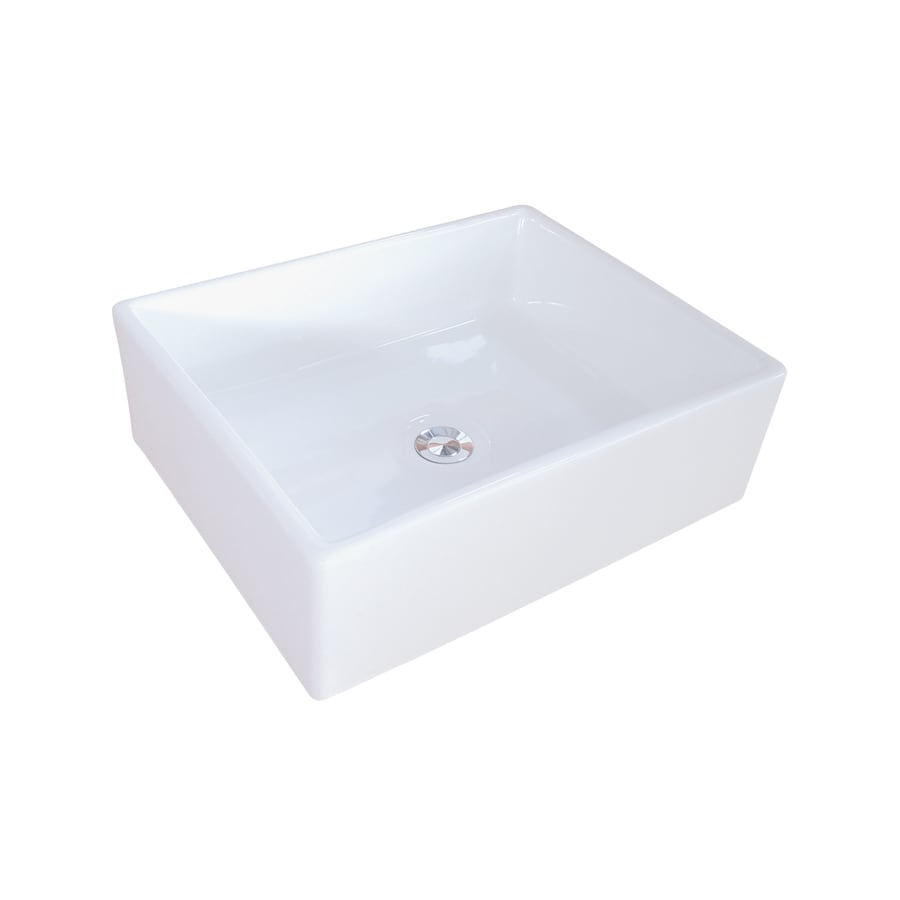 Kingston Brass Elements White Vessel Rectangular Bathroom Sink