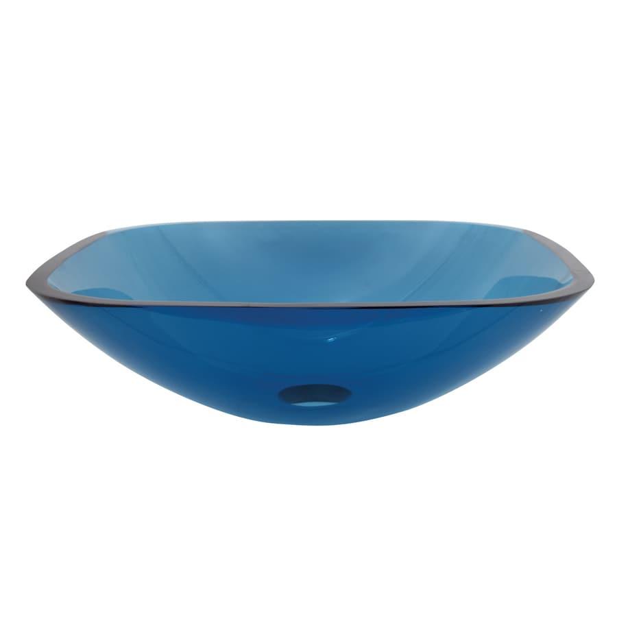 Kingston Brass Templeton Topaz Blue Glass Vessel Bathroom Sink