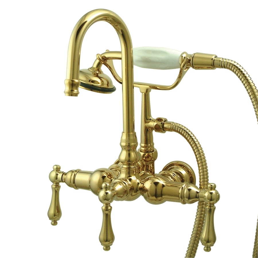Shop Kingston Brass Vintage Polished Brass 3 Handle Fixed Wall Mount Bathtub