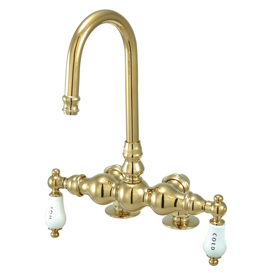 Shop Kingston Brass Vintage Polished Brass 2 Handle Fixed Deck Mount Bathtub Faucet At