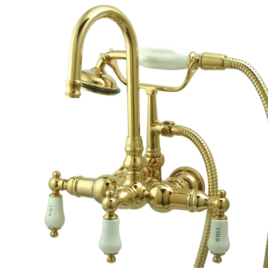 Kingston Brass Vintage Polished Brass 3-Handle Fixed Freestanding/Wall Mount Bathtub Faucet