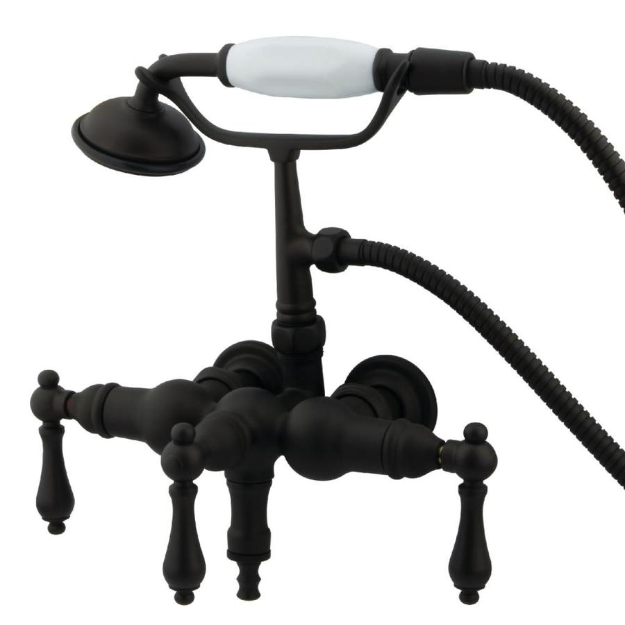 Kingston Brass Clawfoot Oil-Rubbed Bronze 3-Handle Fixed Wall Mount Bathtub Faucet
