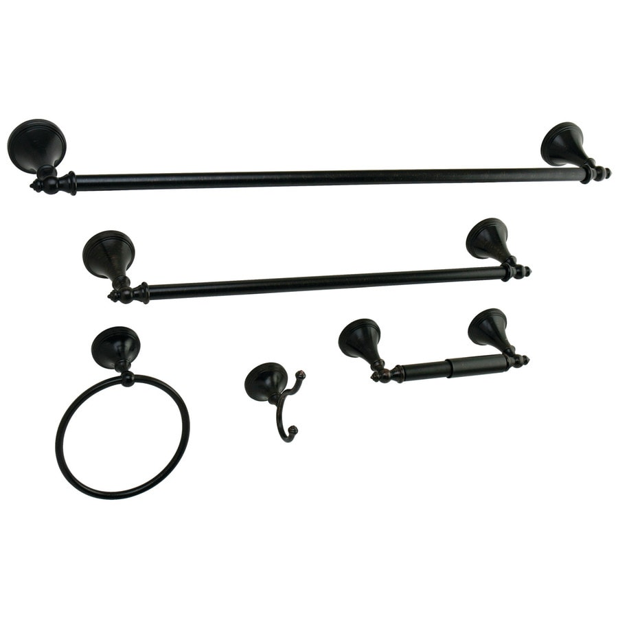 Shop kingston brass 5 piece oil rubbed bronze decorative Oil rubbed bronze bathroom hardware