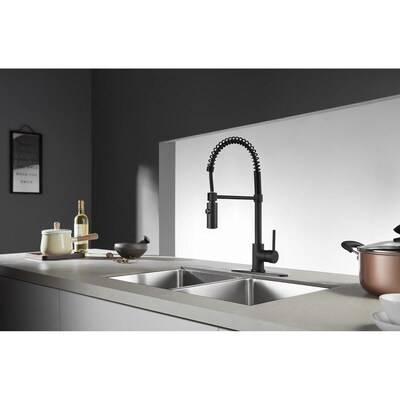 Concord Matte Black 1-Handle Deck Mount Pull-down Residential Kitchen Faucet