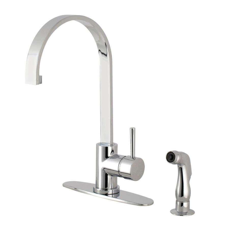 Shop Kingston Brass Concord Polished Chrome 1 Handle Deck Mount High Arc Kitchen Faucet At