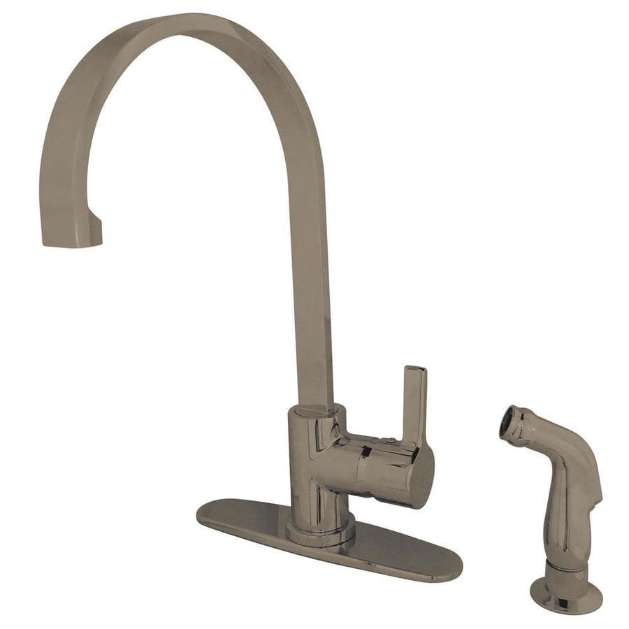 Kingston Brass Modern Satin Nickel 1-Handle High-arc Kitchen Faucet with Side Spray