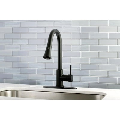 Modern Black 1-Handle Deck Mount Pull-Down Residential Kitchen Faucet