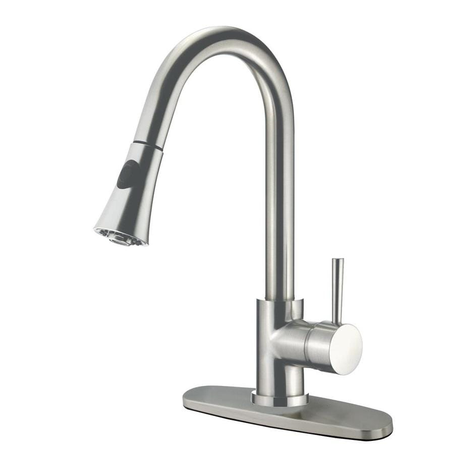 Shop Kingston Brass Modern Satin Nickel 1 Handle Pull Down Kitchen Faucet At