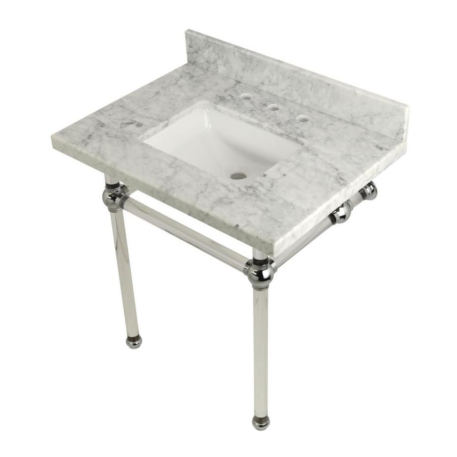Carrara Marble Bathroom Sink: Kingston Brass Templeton Carrara Marble/Polished Chrome