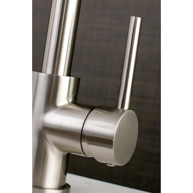 Kingston Brass Concord Brushed Nickel 1 Handle Deck Mount Pre Rinse Handle Kitchen Faucet Deck Plate Included In The Kitchen Faucets Department At Lowes Com