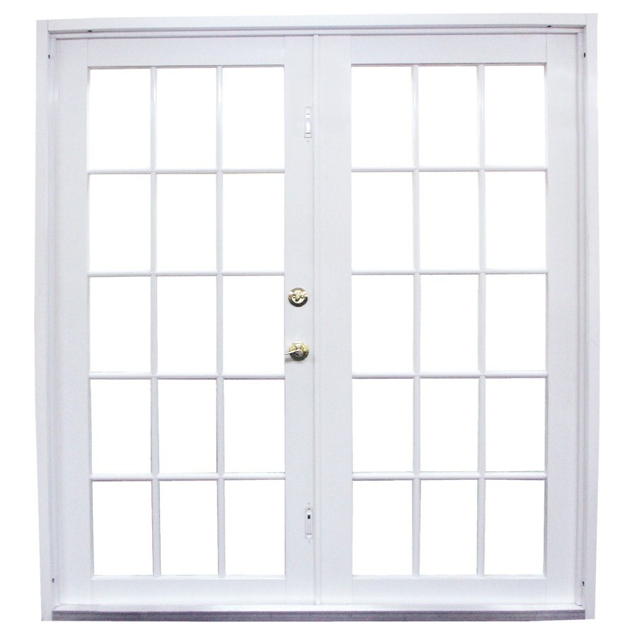 Shop west palm 72 in clear glass white aluminum french for Glass french doors exterior