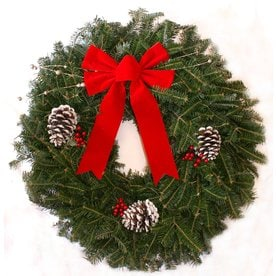 24 in fresh fraser fir christmas wreath with lights