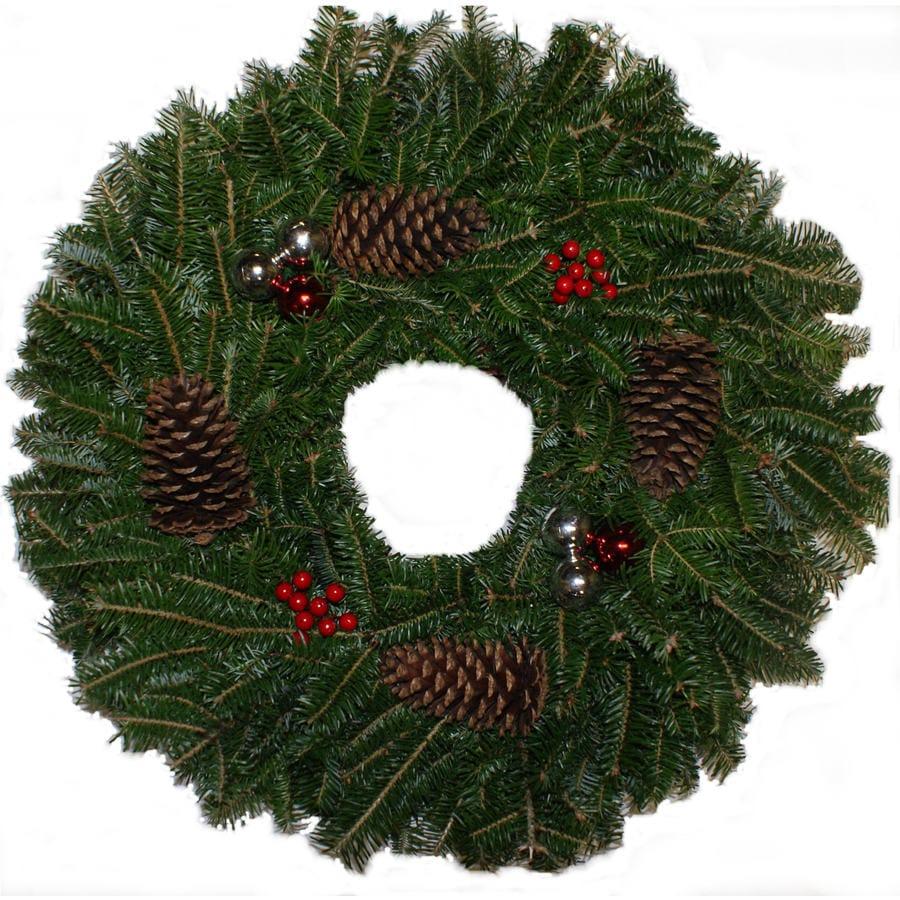 28-in Fresh Fraser Fir Christmas Wreath with Lights