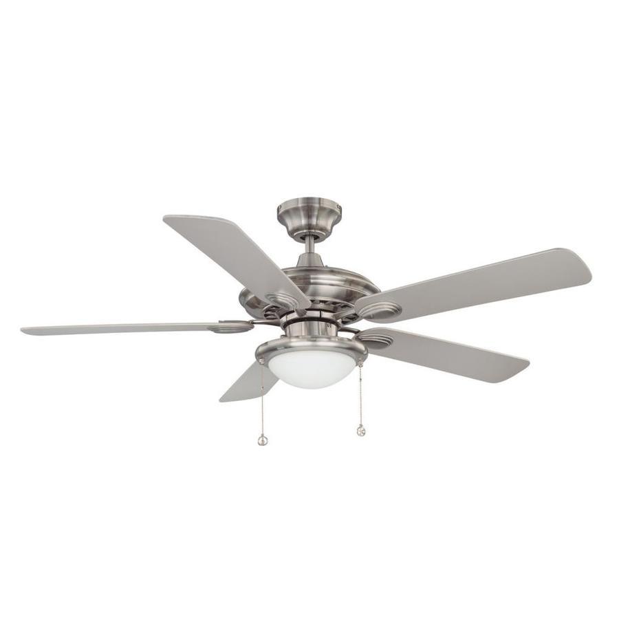 52 Ceiling Fan With Light Kit Indoor Outdoor Downrod: Kendal Lighting Builder's Choice 52-in Satin Nickel Indoor