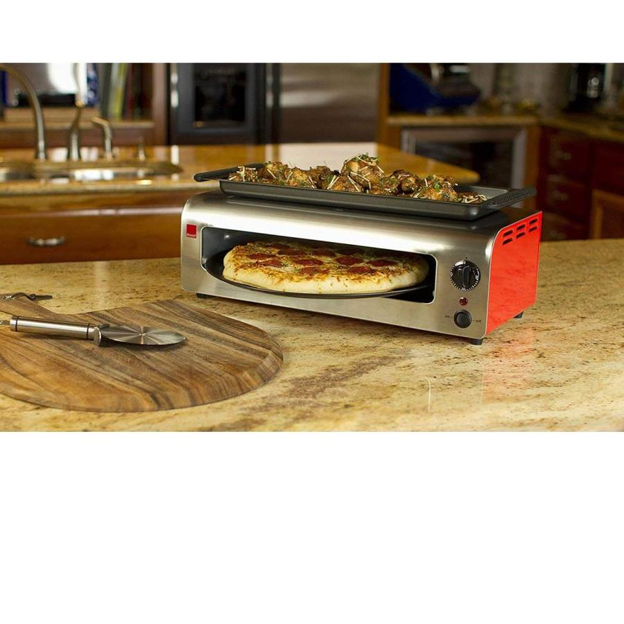 Ronco Pizza and More 1300-Watt Red/Stainless Electric Grill